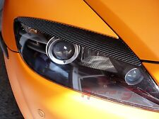 3D GLOSSY REAL CARBON FIBER HEADLIGHT EYEBROWS FOR 04-08 MAZDA RX-8 RX8 SE3P 13B