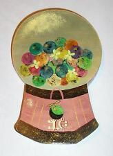 FOLK ART NAIVE PINK GUMBALL 1 CENT CANDY MACHINE WOOD CARVING PAINTING ON WOOD
