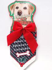 Christmas Dog Pet Holiday Neck Bandana Deck Halls Bones & Holly Red Bow NWT NEW