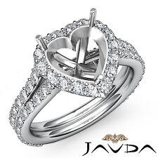 Diamond Engagement Ring Halo Pave Setting 18k White Gold  Heart Semi Mount 1.29C
