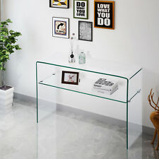 Contemporary Clear Glass Console Table Sideboards Cupboard Buffets Living Room