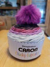 New listing Caron Chunky Cupcakes w/Pom Pom Grapesicle Bulky 5 138 yds 3.5 oz New Yarn