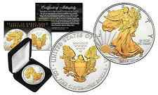 2016 American .999 Silver Eagle 1 oz Coin SELECT 24KT GOLD Gilded 2-Sided w/BOX