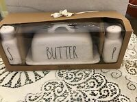 "Rae Dunn Ivory ""BUTTER SALT and PEPPER"" Gift Set By Magenta NIB"