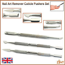 Pushers Cuticle Manicure Gel Polish Cleaners Dual Sided Stainless Steel Set Of 3