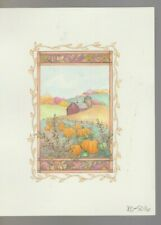"PUMPKIN PATCH & BARN 7x9"" #5016 Thanksgiving Greeting Card Art"