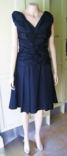 PURPLE HEARTS Black Dress A-Line Gathered Pleated V-Neck S-Large Evening Festive