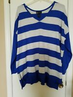 LANE BRYANT Womens PLUS Size 26 28 Blue and Gray Striped Lightweight Sweater