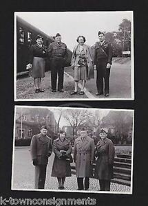 US Army Officers & Wac Military Women in Uniform Vintage WWII Snapshot Photos
