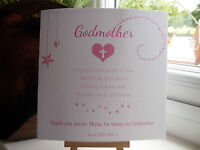 Handmade Personalised Thank You For Being My Godparents Godmother Godfather Card