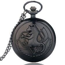 Classic Fullmetal Alchemist Necklace Black Quartz Pocket Watch Chain Boy Men A