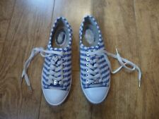 MICHAEL KORS MK Blue & White Stripe KIRSTY Trainers Size US 8M UK 5.5 6