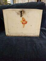 Vintage White Metal Bread Box