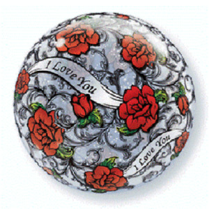 """I Love You Balloon Red Rose Filigree  22"""" Bubbles Qualatex Round"""