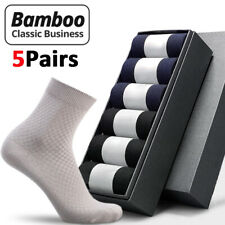 5 pares de calcetines de fibra de bambú de Hombre Negocios Calcetín Transpirable Anti-bacteriana Desodorante