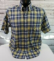 Nautica Short Sleeve Button Front 100% Cotton Men's Blue and Yellow Plaid Shirt