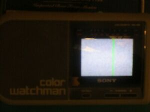 Vintage Sony Color Watchman FDL-370 3 Inch Screen Portable TV w/ AC Adapter