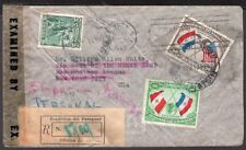 069 Paraguay To Us Registered Censored Air Mail Cover 1943 Asuncion - New York
