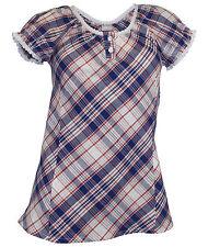 Karierte Kurzarm Damenblusen, - tops & -shirts im Passform