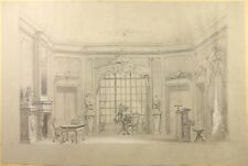 BAILLY Alexandre (1866-1947) Grand Dessin Intérieur de Salon Piano
