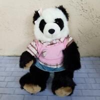 Build A Bear Pawsome Panda with Bow Sweater Shirt & Denim Skirt Plush Stuffed