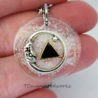 Sobriety necklace Celestial Moon Face resin casted glitter AA Sobriety jewelry