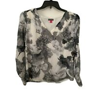 Vince Camuto Womens Grey Watercolor Melody Smocked Shoulder Floral Print Top S