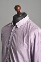 Men's PAUL SMITH Jeans Cotton Striped Purple Long Sleeve Casual Shirt Size L