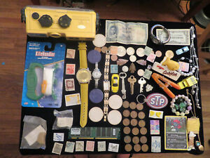 junk drawer lot coins lot MINOLTA WEATHERMATIC A Camera watches jewelry lot old