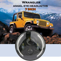 "7"" Round LED Headlights High White Beam DRL For Wrangler JK TJ LJ Motorcycle"