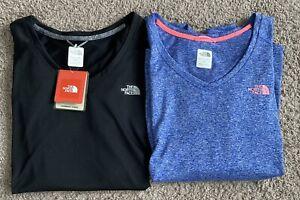 Lot of 2 North Face VaporWick Reaxion Amp V-Neck Tee Women's XL Shirt NEW
