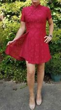 Red Lace Mini Evening Christmas Party Dress Korean Chinese Style Designer 12 M