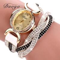Lujo Moda de Mujer Acero Inoxidable Cuero Cristal Diamantes Cuarzo Reloj Pulsera