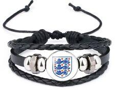 England Bracelet Leather Bracelet Football Rugby Cricket 3 lions mens boys M85