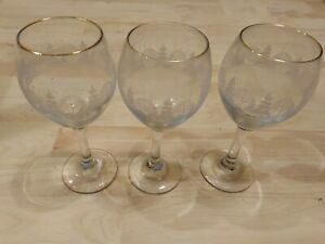 3 Libbey Christmas White Frosted Pine Trees Stemmed Glasses Goblet Arby's Wine