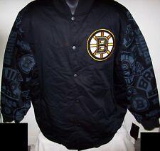 Boston Bruins Starter Jacket Bruins Print Logos on Sleeves 3X 4X 5X 6X Black