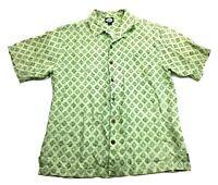 Tommy Bahama Mens Green Floral Short Sleeve Front Pocket Linen Shirt Size Medium