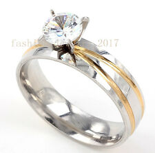 Lots 10Pcs Charms Wedding Ring Men Silver Stainless Steel Crystal Cubic Zirconia