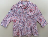 Dana Buchman Womens Multi-Colored Button Front 3/4 Sleeve V-Neck Blouse Size M