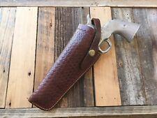 "Vintage Brown Basketweave Leather SA Revolver Holster Fits SA Army 5 1/2"" LEFT"