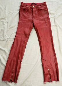 ZARA Women's Red Coated Crop Zip Detail Jeans Size EU 36 UK 8 Used Condition
