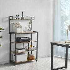 More details for 5-tier industrial bookshelf storage rack wood shelf metal stand for home&office