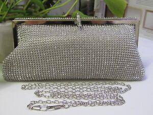 NEW - Ladies Superflash Drill Evening Handbag - Silver and very soft