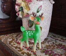 Vintage Christmas Reindeer Figure Rare Color Pink Gem Eyes Plastic Head Turns