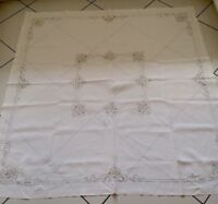 "ANTIQUE LINEN HAND EMBROIDERED MADEIRA TABLECLOTH 66"" X 66"""