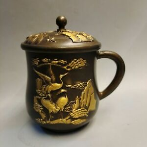 Chinese Copper Gilded Handmade Exquisite crane pine tree statue Cup