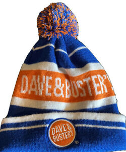 Dave & Buster's Pom-Pom Beanie Unisex Winter Gear Orange White Blue