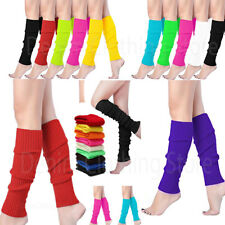 Women Crochet Knit Ribbed Leg Warmers Solid Knee High Winter Wool Boot Sock 16""