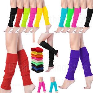"""Women Crochet Knit Ribbed Leg Warmers Solid Knee High Winter Wool Boot Sock 16"""""""