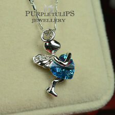 18CT White Gold GP Aquamarine Angel's Heart Necklace Made With SWAROVSKI Crystal